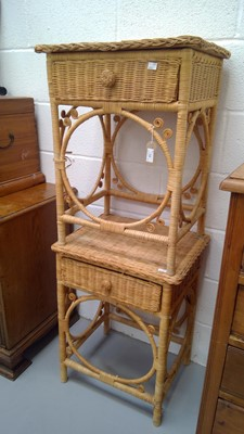 Lot 12 - Pair of cane and wicker bedside tables, each...