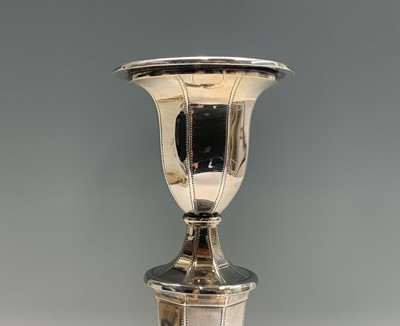 Lot 1081 - An impressive pair of silver candlesticks by...