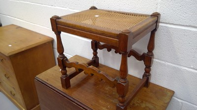 Lot 18 - Oak stool with bergere seat Height 47cm Width...