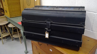 Lot 21 - Tin trunk painted black Height 39cm Width 62cm...