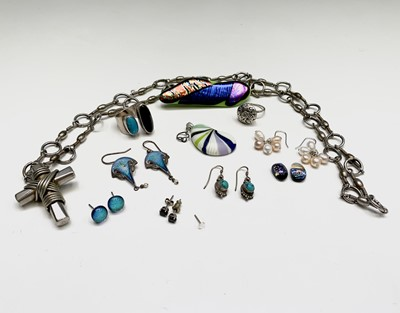 Lot 109 - A Mexican silver ring, a artist's jewellery...