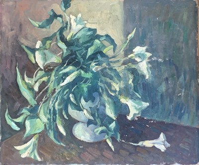 Lot 154 - Bob VIGG (1932-2001) Lilies in a Vase Oil on...