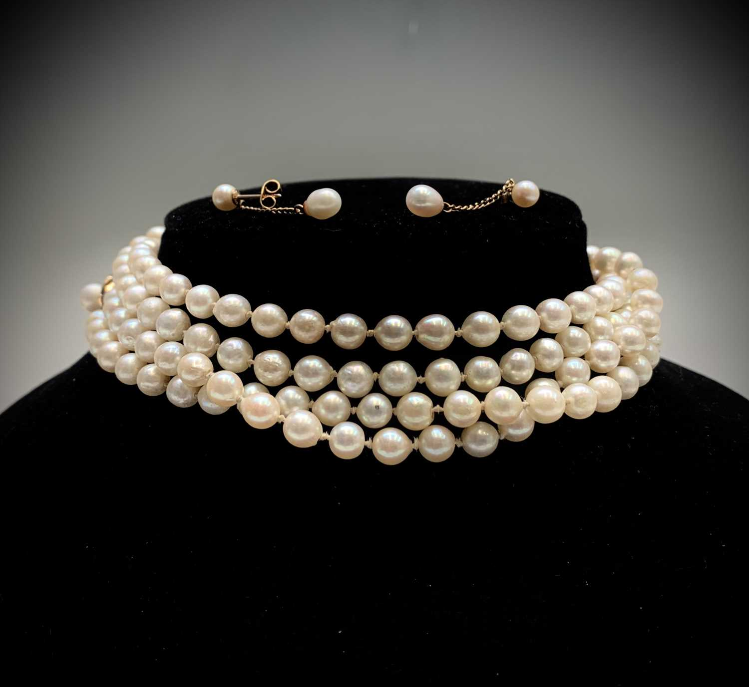 Lot 42 - A cultured pearl necklace, 132cm, with a...