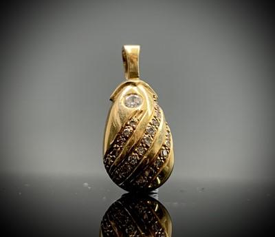 Lot 174 - A pretty diamond set gold drop shaped pendant,...