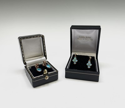 Lot 224 - Two pairs of opal earrings set in gold 3.2gm