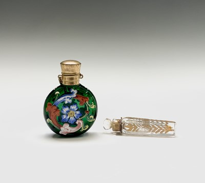 Lot 155 - An enamelled continental glass scent bottle...