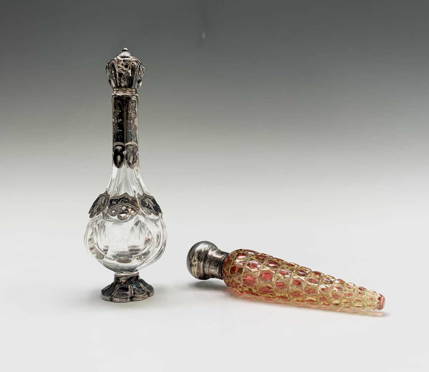 Lot 1046 - A Victorian conical cut lime glass scent...
