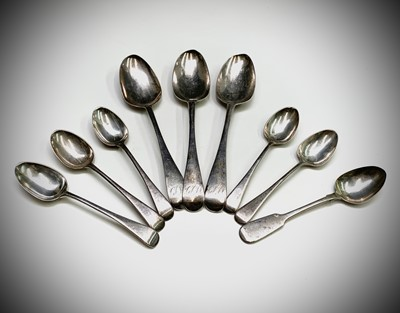 Lot 1048 - Eight various Old English Pattern silver...