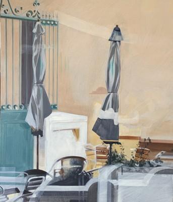 Lot 138 - Elisa McCLEOD Two Umbrellas Oil on canvas...