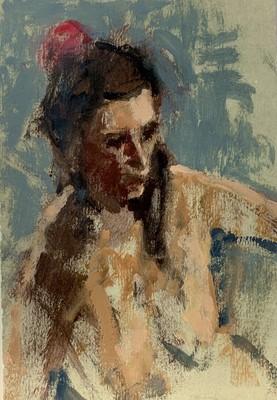 Lot 26 - Eric WARD(1945) Nude Oil sketch 19x13cm