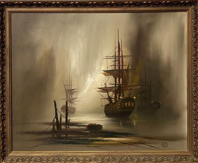 Lot 4 - Barry HILTON (1941) Shipping Oil on canvas...
