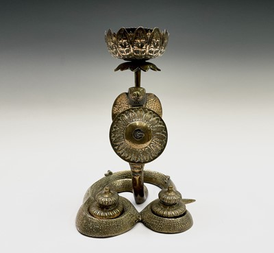 Lot 9 - An unusual combined candlestick inkstand,...