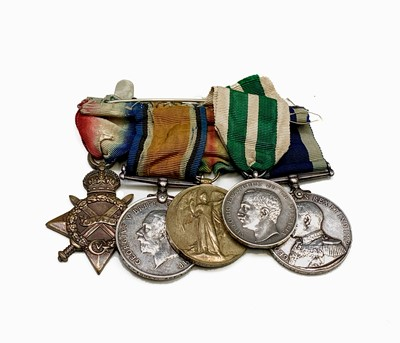 Lot 211 - Group of five:- First World War trio K15652...