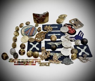 Lot 203 - Misc Militaria - Box containing medals, badges,...
