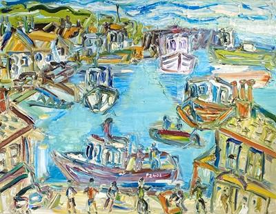 Lot 128 - Sean HAYDEN (1979) Newlyn Harbour Oil on...