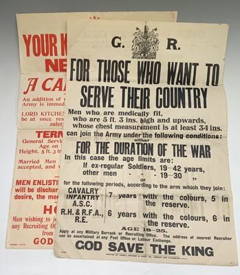 Lot 224 - A Pair of Original World War I Recruiting...