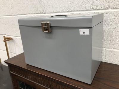 Lot 14 - A metal filing box, enclosing dividers.