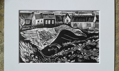 Lot 45 - Melanie HULSE Primrose Goose Lino print Signed...