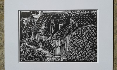 "Lot 46 - Melanie HULSE Sea Woven Lino print Signed 6"" ×..."