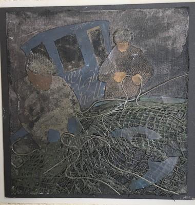 """Lot 55 - Sally BASSETT Rocking Fishing Boat 28 x 28""""..."""