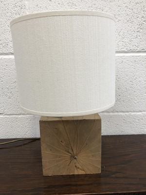 Lot 4 - A Red mud table lamp, the wooden base wrapped...