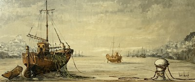 Lot 165 - Ben MAILE Boats at low tide Oil on canvas...