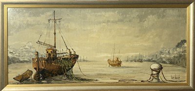 Lot 372 - Ben MAILE Boats at low tide Oil on canvas...