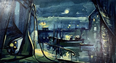 Lot 36 - Tony GILES (1925-1994) Dark Harbour Acrylic on...