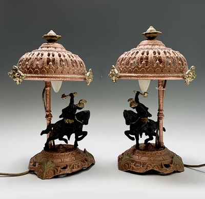 Lot 5 - A pair of painted spelter table lamps with...