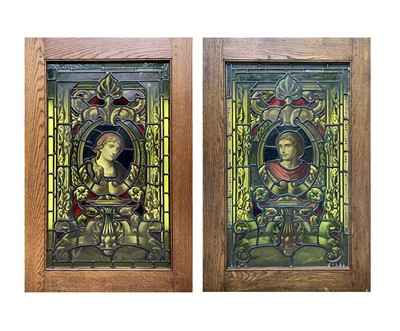 Lot 6 - A pair of 19th century stained glass panels,...
