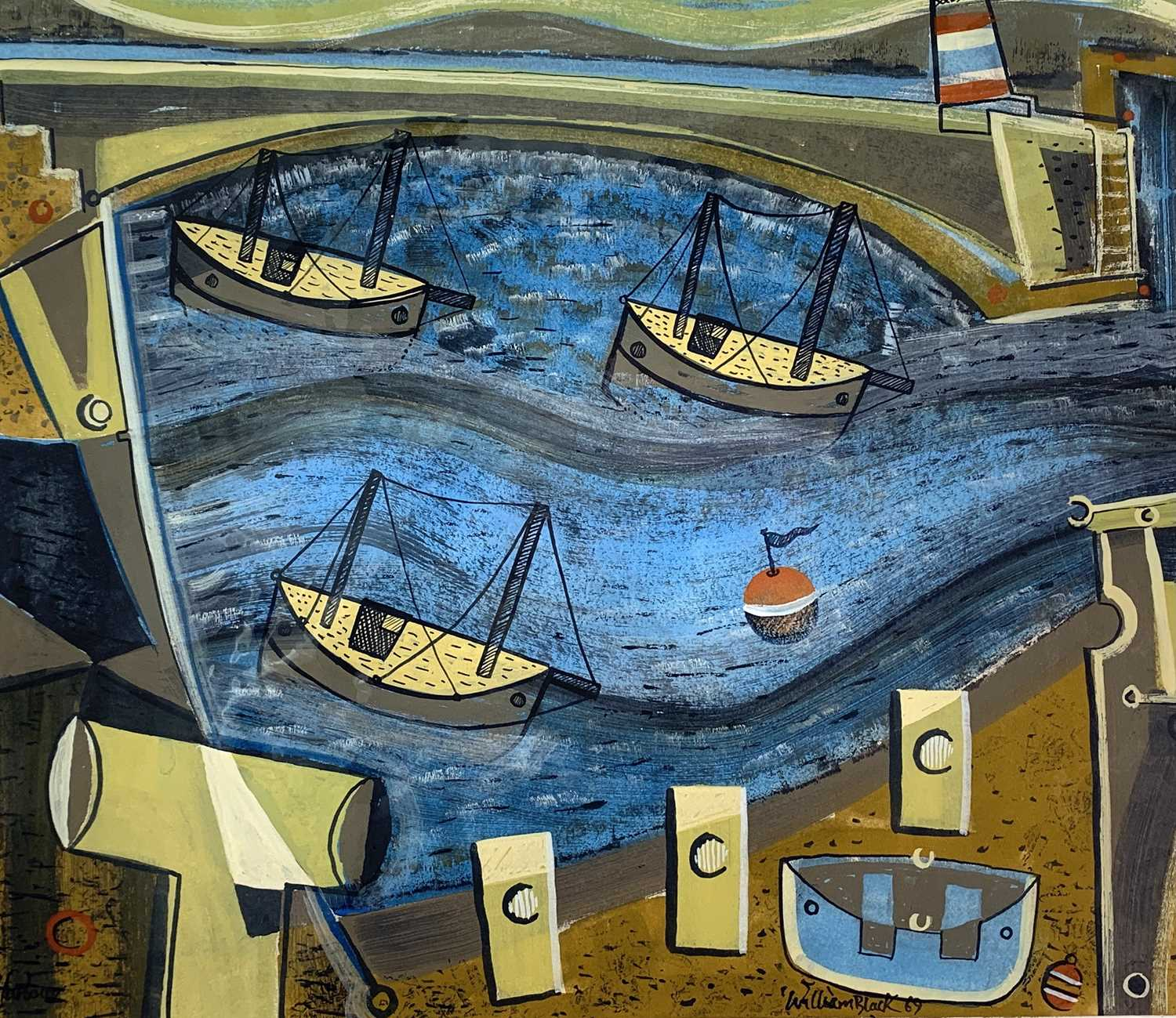 Lot 80 - William BLACK (20th Century British) 'Harbour'...
