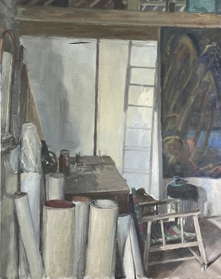 Lot 1002 - Alec WILES (1924) The Artist's Studio Oil on...