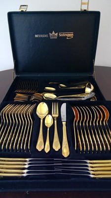 Lot 12 - Canteen of Bestecke Soligen cutlery in a black...