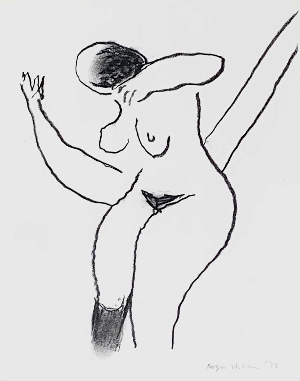 Lot 7 - Roger HILTON (1911-1975) Dancing Nude Charcoal...