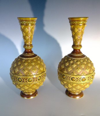 Lot 1 - A pair of Metlach stoneware vases, some damage,...