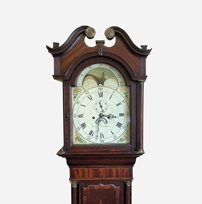Lot 11 - A George III oak and mahogany eight day...