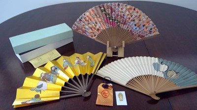 Lot 6 - Japanese hand fans with fan display stand, and...