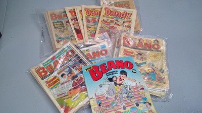 Lot 16 - The Beano and The Dandy comics late 80s early...