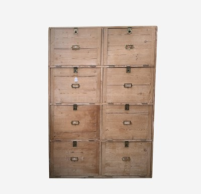 Lot 46 - A large pine office alcove cabinet, circa 1900,...