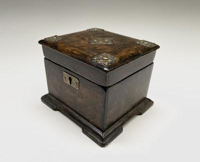 Lot 13 - A Victorian papier mache rectangular tea caddy,...