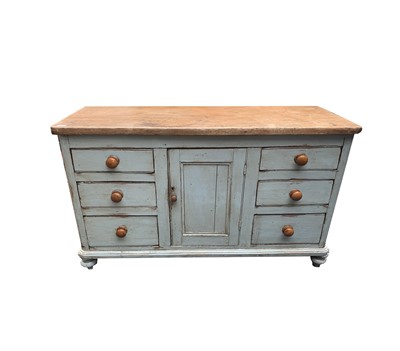 Lot 20 - A Victorian painted pine low dresser, with a...