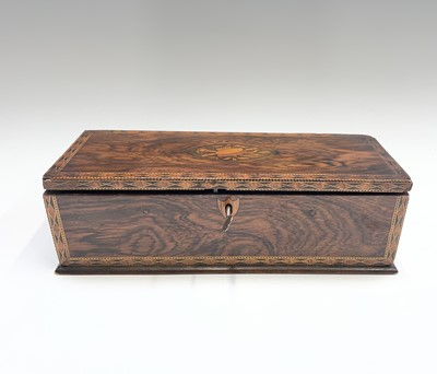 Lot 14 - A Victorian rosewood glove box, the top inlaid...