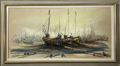 Lot 412 - Ben MAILE (1922 - 2017) Beached boats Oil on...