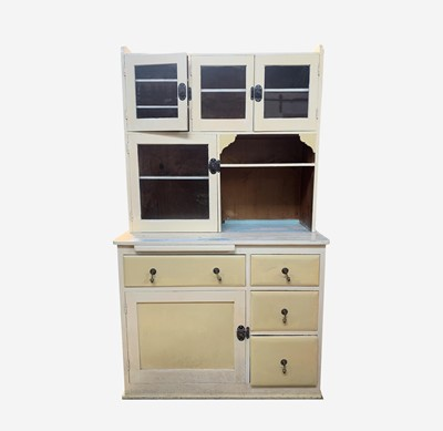 Lot 38 - A 20th century painted pine kitchen cabinet,...