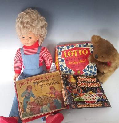 Lot 1 - Vintage games, doll and koala bear.