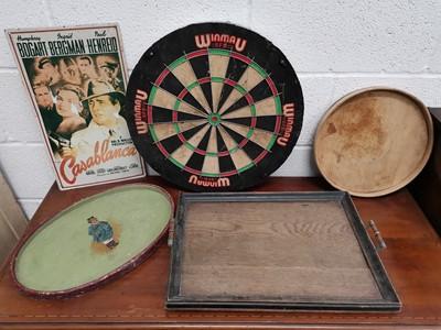 Lot 15 - A 'Winmau' dart boards, a vintage wooden...