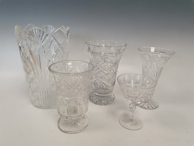 Lot 1 - Three crystal vases along with two cut-glass...