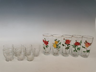 Lot 2 - Five glasses with rose decal designs and seven...