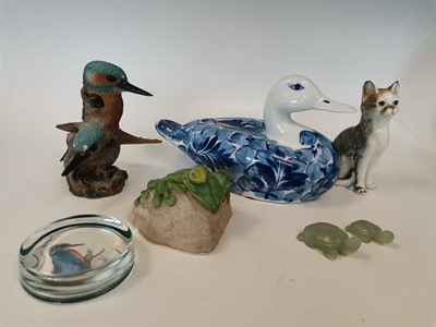 Lot 4 - A 'Librasco' blue and white porcelain duck, a...