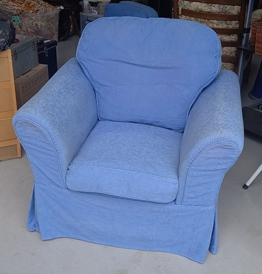 Lot 31 - A blue upholstered arm chair, 90cm tall, 100cm...
